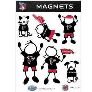Atlanta Falcons Family Magnets - Our Atlanta Falcons family magnet set has father, mother, daughter, son, dog and cat all showing off their Atlanta Falcons pride! Officially licensed NFL product Licensee: Siskiyou Buckle .com