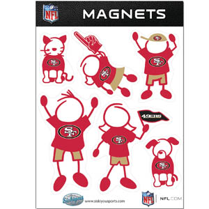 San Francisco 49ers Family Magnets - Our San Francisco 49ers family magnet set has father, mother, daughter, son, dog and cat all showing off their San Francisco 49ers pride! Officially licensed NFL product Licensee: Siskiyou Buckle .com
