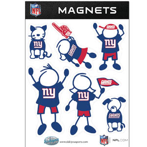 New York Giants Family Magnets - Our New York Giants family magnet set has father, mother, daughter, son, dog and cat all showing off their New York Giants pride! Officially licensed NFL product Licensee: Siskiyou Buckle .com