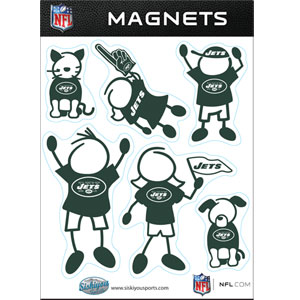 New York Jets Family Magnets - Our New York Jets family magnet set has father, mother, daughter, son, dog and cat all showing off their New York Jets pride! Officially licensed NFL product Licensee: Siskiyou Buckle Thank you for visiting CrazedOutSports.com