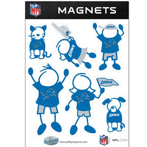 Detroit Lions Family Magnets - Our Detroit Lions family magnet set has father, mother, daughter, son, dog and cat all showing off their Detroit Lions pride! Officially licensed NFL product Licensee: Siskiyou Buckle .com