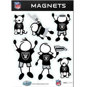 Oakland Raiders Family Magnets - Our Oakland Raiders family magnet set has father, mother, daughter, son, dog and cat all showing off their Oakland Raiders pride! Officially licensed NFL product Licensee: Siskiyou Buckle Thank you for visiting CrazedOutSports.com