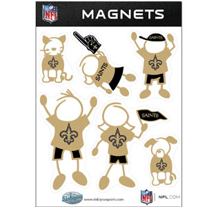 New Orleans Saints Family Magnets - Our New Orleans Saints family magnet set has father, mother, daughter, son, dog and cat all showing off their New Orleans Saints pride! Officially licensed NFL product Licensee: Siskiyou Buckle .com