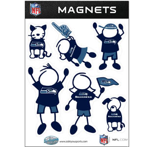 Seattle Seahawks Family Magnets - Our Seattle Seahawks family magnet set has father, mother, daughter, son, dog and cat all showing off their Seattle Seahawks pride! Officially licensed NFL product Licensee: Siskiyou Buckle Thank you for visiting CrazedOutSports.com