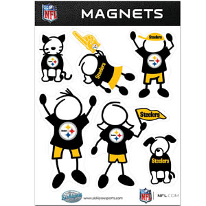 Pittsburgh Steelers Family Magnets - Our Pittsburgh Steelers family magnet set has father, mother, daughter, son, dog and cat all showing off their Pittsburgh Steelers pride! Officially licensed NFL product Licensee: Siskiyou Buckle .com