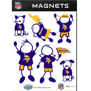 Minnesota Vikings Family Magnets - Our Minnesota Vikings family magnet set has father, mother, daughter, son, dog and cat all showing off their Minnesota Vikings pride! Officially licensed NFL product Licensee: Siskiyou Buckle .com