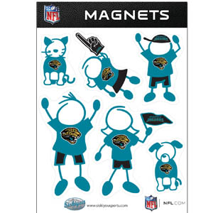 Jacksonville Jaguars Family Magnets - Our Jacksonville Jaguars family magnet set has father, mother, daughter, son, dog and cat all showing off their Jacksonville Jaguars pride! Officially licensed NFL product Licensee: Siskiyou Buckle Thank you for visiting CrazedOutSports.com