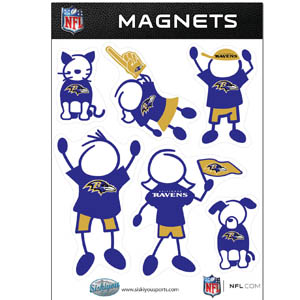 Baltimore Ravens Family Magnets - Our Baltimore Ravens family magnet set has father, mother, daughter, son, dog and cat all showing off their Baltimore Ravens pride! Officially licensed NFL product Licensee: Siskiyou Buckle .com
