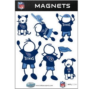 Tennessee Titans Family Magnets - Our Tennessee Titans family magnet set has father, mother, daughter, son, dog and cat all showing off their Tennessee Titans pride! Officially licensed NFL product Licensee: Siskiyou Buckle .com