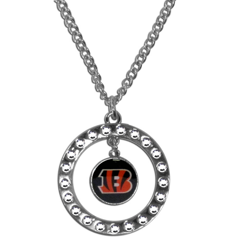 Cincinnati Bengals Rhinestone Hoop Necklace - Our Cincinnati Bengals rhinestone hoop necklace comes on an 18 inch chain and features a hoop covered in rhinestones with a high polish chrome finish and a team logo dangling in the center.
