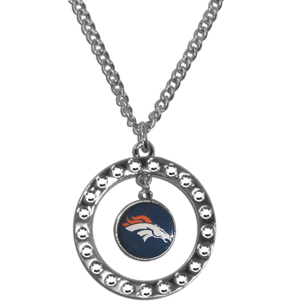 Denver Broncos Rhinestone Hoop Necklace - Our Denver Broncos rhinestone hoop necklace comes on an 18 inch chain and features a hoop covered in rhinestones with a high polish chrome finish and a team logo dangling in the center.