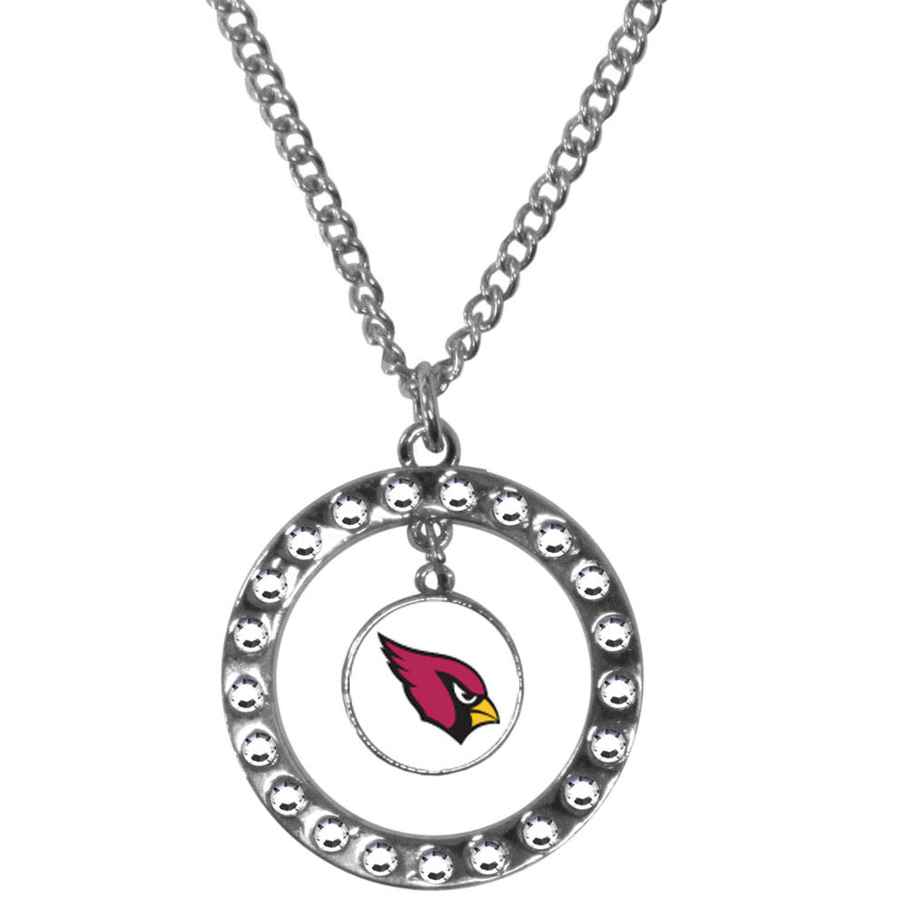 Arizona Cardinals Rhinestone Hoop Necklace - Our Arizona Cardinals rhinestone hoop necklace comes on an 18 inch chain and features a hoop covered in rhinestones with a high polish chrome finish and a team logo dangling in the center.