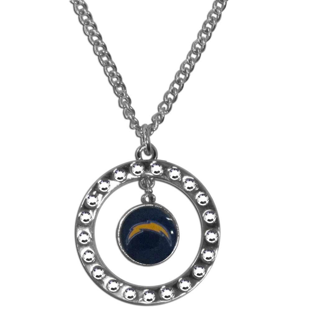 Los Angeles Chargers Rhinestone Hoop Necklace - Our Los Angeles Chargers rhinestone hoop necklace comes on an 18 inch chain and features a hoop covered in rhinestones with a high polish chrome finish and a team logo dangling in the center.