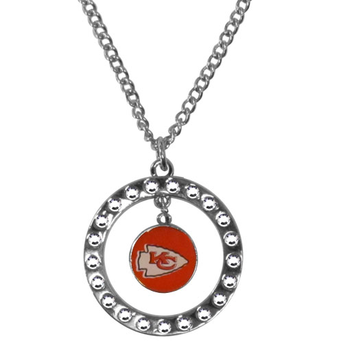 "Kansas City Chiefs Rhinestone Hoop Necklace - Our officially licensed NFL rhinestone hoop necklace comes on an 18"" chain and features a hoop covered in rhinestones with a high polish chrome finish and a Kansas City Chiefs logo dangling in the center. Officially licensed NFL product Licensee: Siskiyou Buckle Thank you for visiting CrazedOutSports.com"