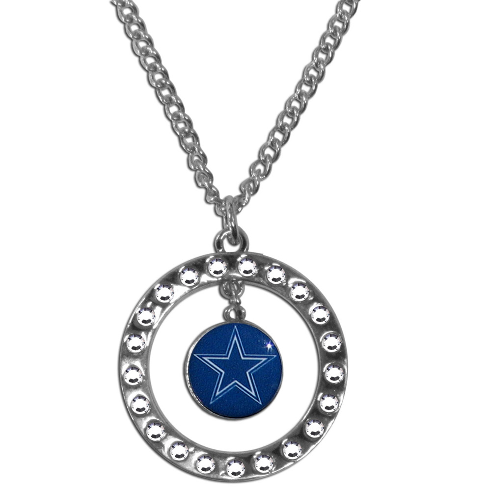 Dallas Cowboys Rhinestone Hoop Necklace - Our Dallas Cowboys rhinestone hoop necklace comes on an 18 inch chain and features a hoop covered in rhinestones with a high polish chrome finish and a team logo dangling in the center.
