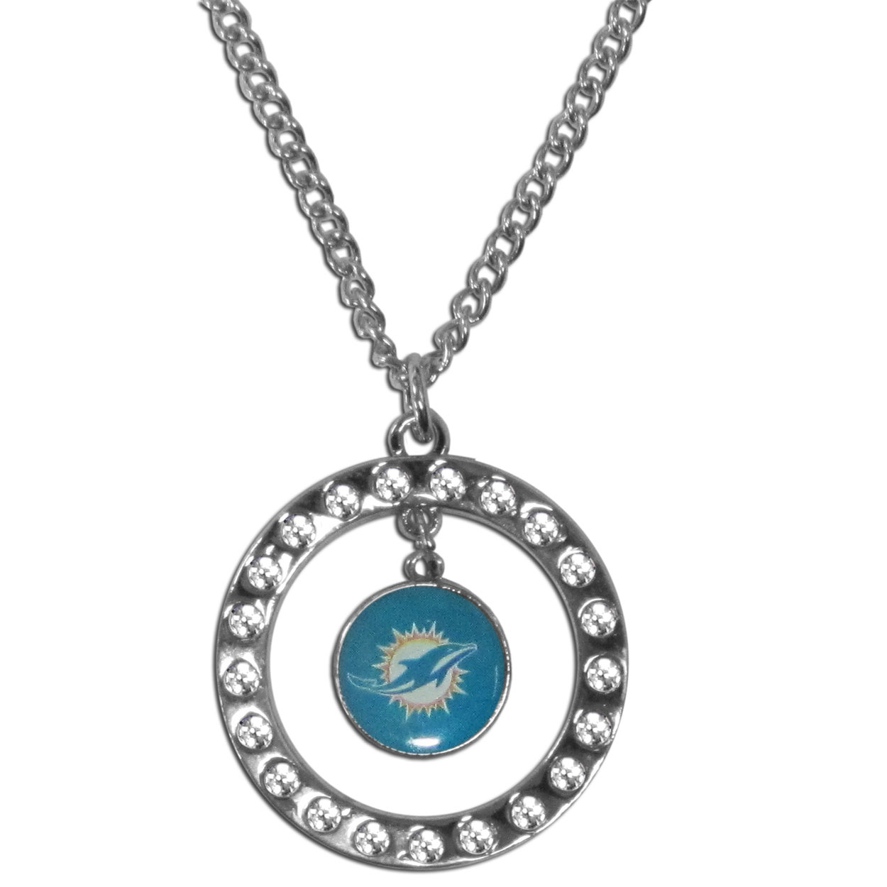 Miami Dolphins Rhinestone Hoop Necklace - Our Miami Dolphins rhinestone hoop necklace comes on an 18 inch chain and features a hoop covered in rhinestones with a high polish chrome finish and a team logo dangling in the center.