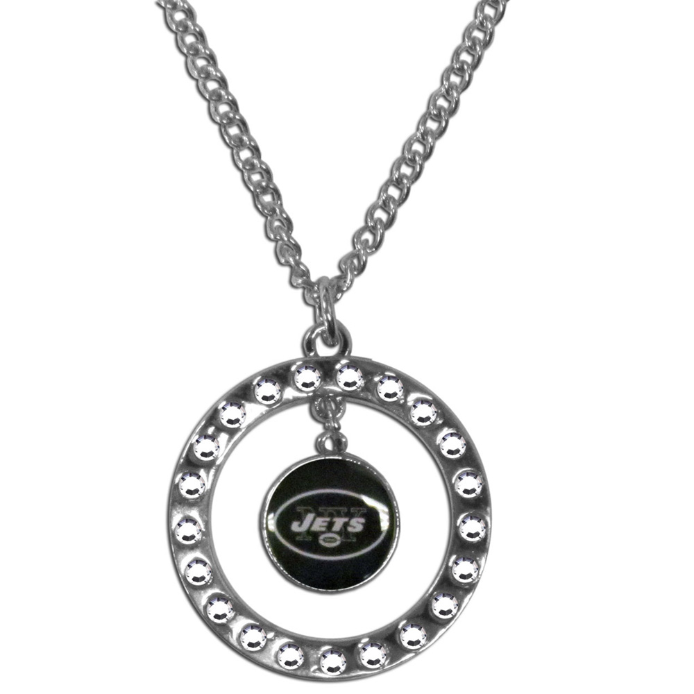 New York Jets Rhinestone Hoop Necklace - Our New York Jets rhinestone hoop necklace comes on an 18 inch chain and features a hoop covered in rhinestones with a high polish chrome finish and a team logo dangling in the center.