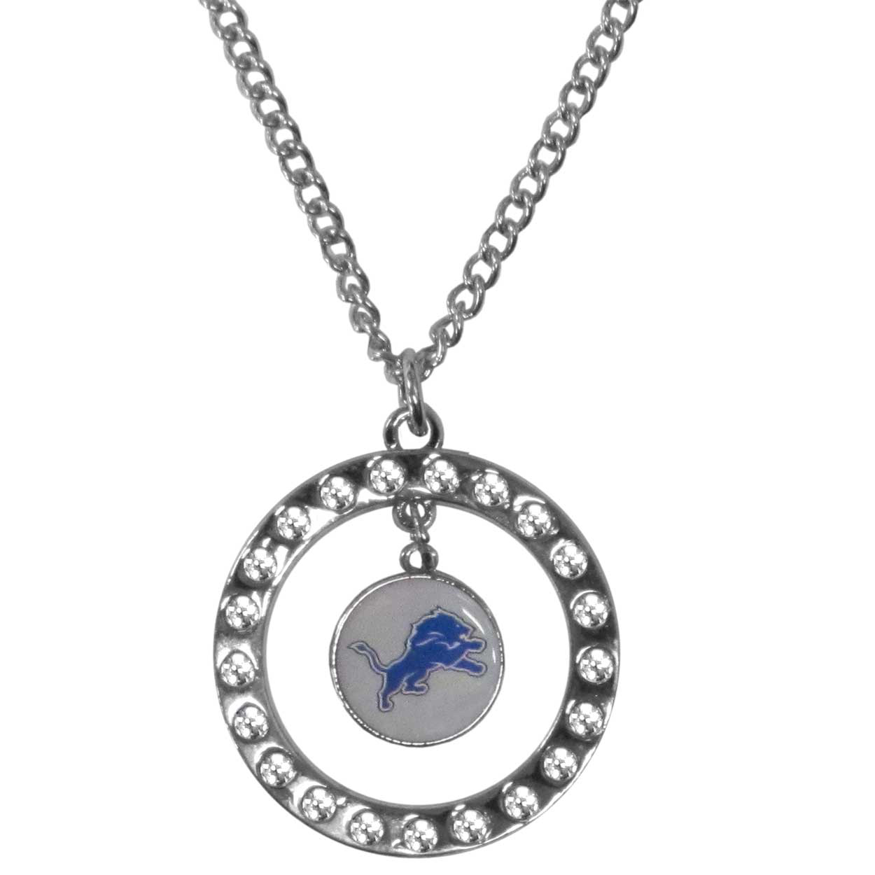 Detroit Lions Rhinestone Hoop Necklace - Our Detroit Lions rhinestone hoop necklace comes on an 18 inch chain and features a hoop covered in rhinestones with a high polish chrome finish and a team logo dangling in the center.
