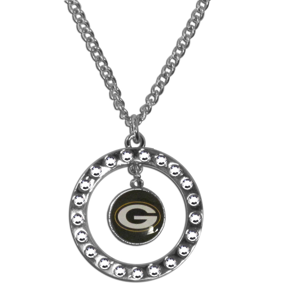 Green Bay Packers Rhinestone Hoop Necklace - Our Green Bay Packers rhinestone hoop necklace comes on an 18 inch chain and features a hoop covered in rhinestones with a high polish chrome finish and a team logo dangling in the center.