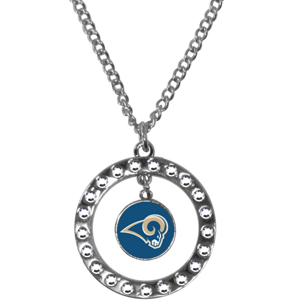 St. Louis Rams Rhinestone Hoop Necklace - Our St. Louis Rams rhinestone hoop necklace comes on an 18 inch chain and features a hoop covered in rhinestones with a high polish chrome finish and a team logo dangling in the center.