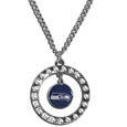 "Seattle Seahawks Rhinestone Hoop Necklace - Our officially licensed NFL rhinestone hoop necklace comes on an 18"" chain and features a hoop covered in rhinestones with a high polish chrome finish and a Seattle Seahawks logo dangling in the center. Officially licensed NFL product Licensee: Siskiyou Buckle .com"