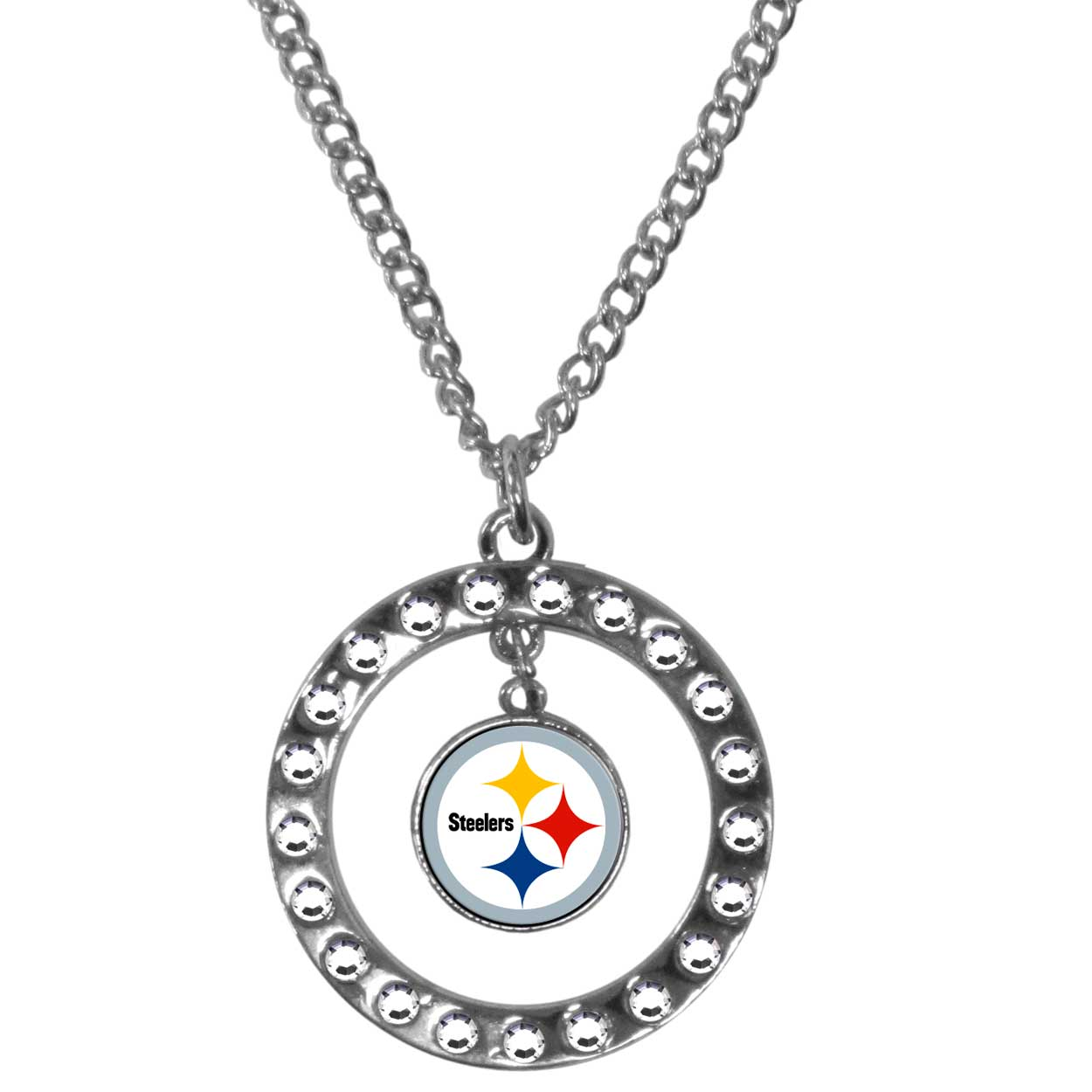 Pittsburgh Steelers Rhinestone Hoop Necklace - Our Pittsburgh Steelers rhinestone hoop necklace comes on an 18 inch chain and features a hoop covered in rhinestones with a high polish chrome finish and a team logo dangling in the center.
