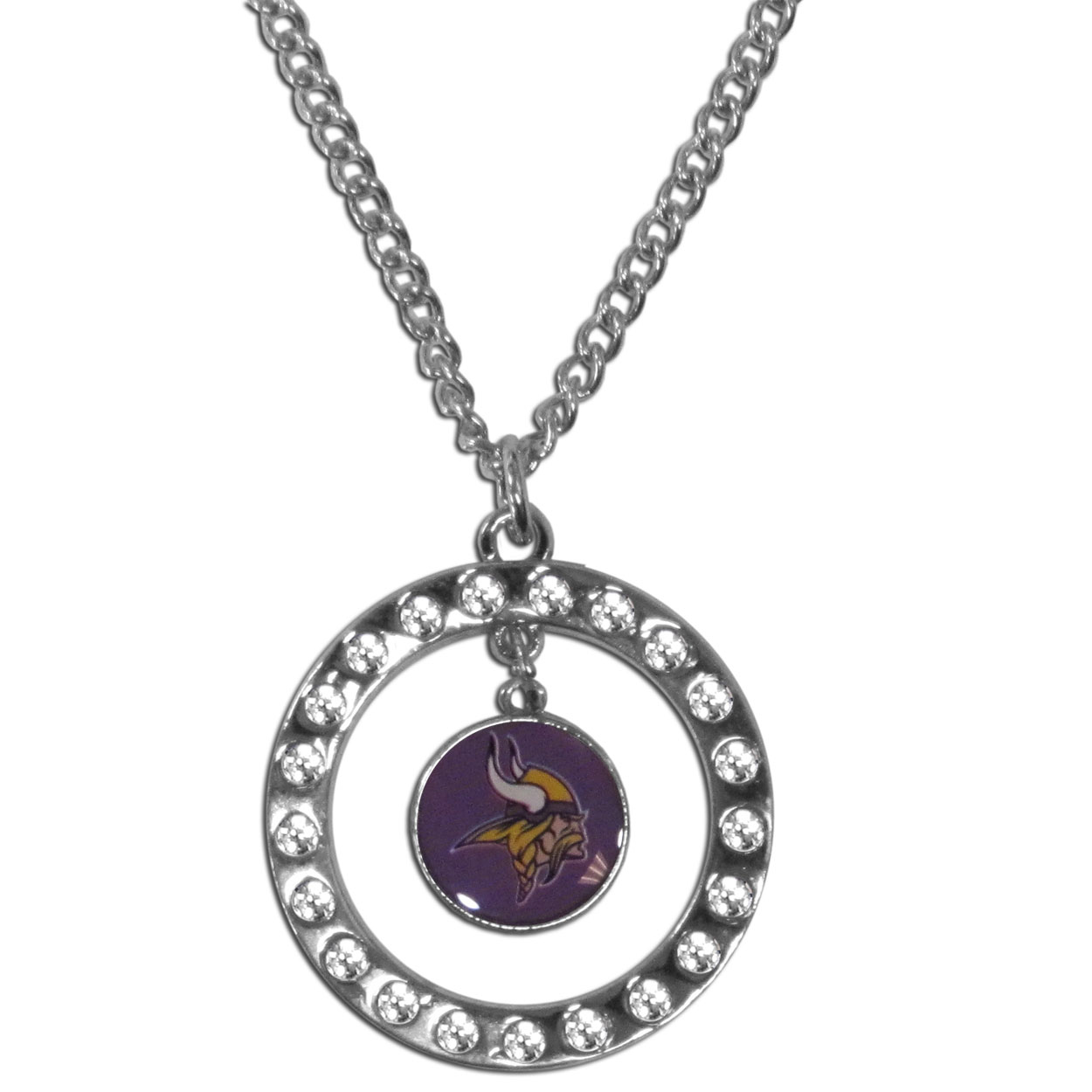 Minnesota Vikings Rhinestone Hoop Necklace - Our Minnesota Vikings rhinestone hoop necklace comes on an 18 inch chain and features a hoop covered in rhinestones with a high polish chrome finish and a team logo dangling in the center.