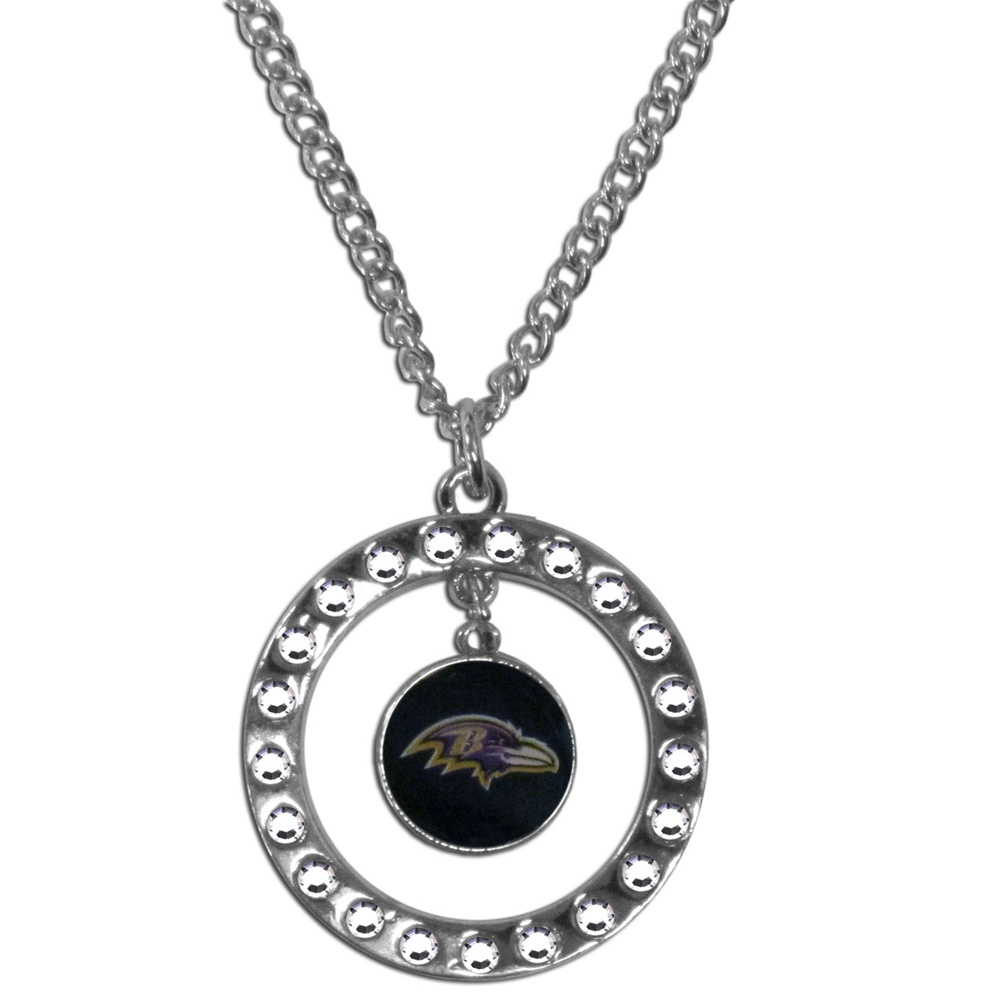 Baltimore Ravens Rhinestone Hoop Necklace - Our Baltimore Ravens rhinestone hoop necklace comes on an 18 inch chain and features a hoop covered in rhinestones with a high polish chrome finish and a team logo dangling in the center.