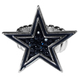 Dallas Cowboys Crystal Ring - This silver plated stretch ring has a big Dallas Cowboys crystal logo.  The ring stretches to fit sizes 6-9 comfortably.