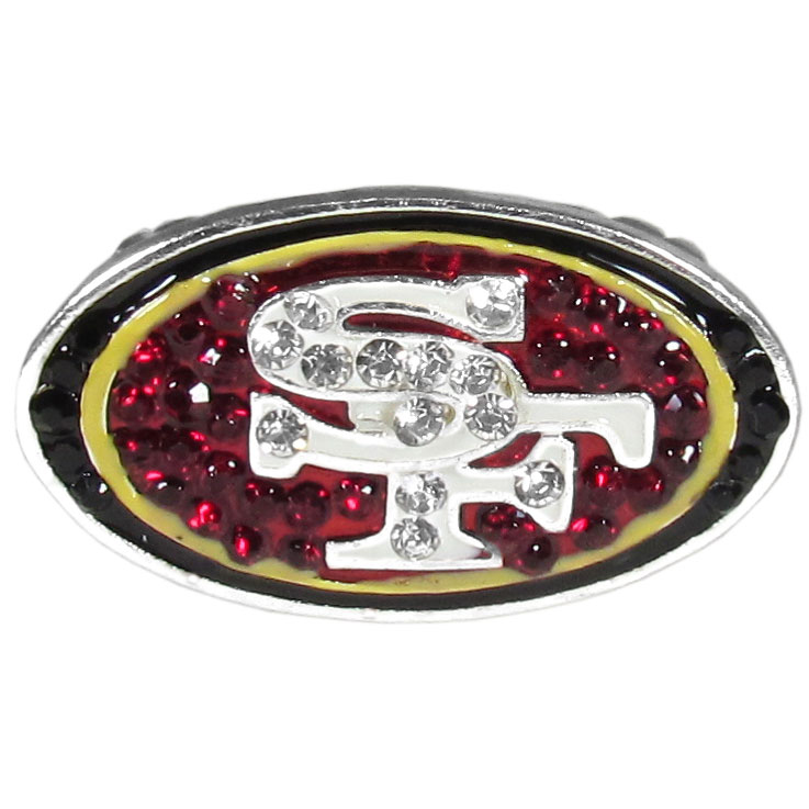 San Francisco 49ers Crystal Ring - This silver plated stretch ring has a big San Francisco 49ers crystal logo.  The ring stretches to fit sizes 6-9 comfortably.