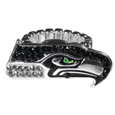 Seattle Seahawks Crystal Ring - This silver plated stretch ring has a big Seattle Seahawks crystal logo.  The ring stretches to fit sizes 6-9 comfortably.