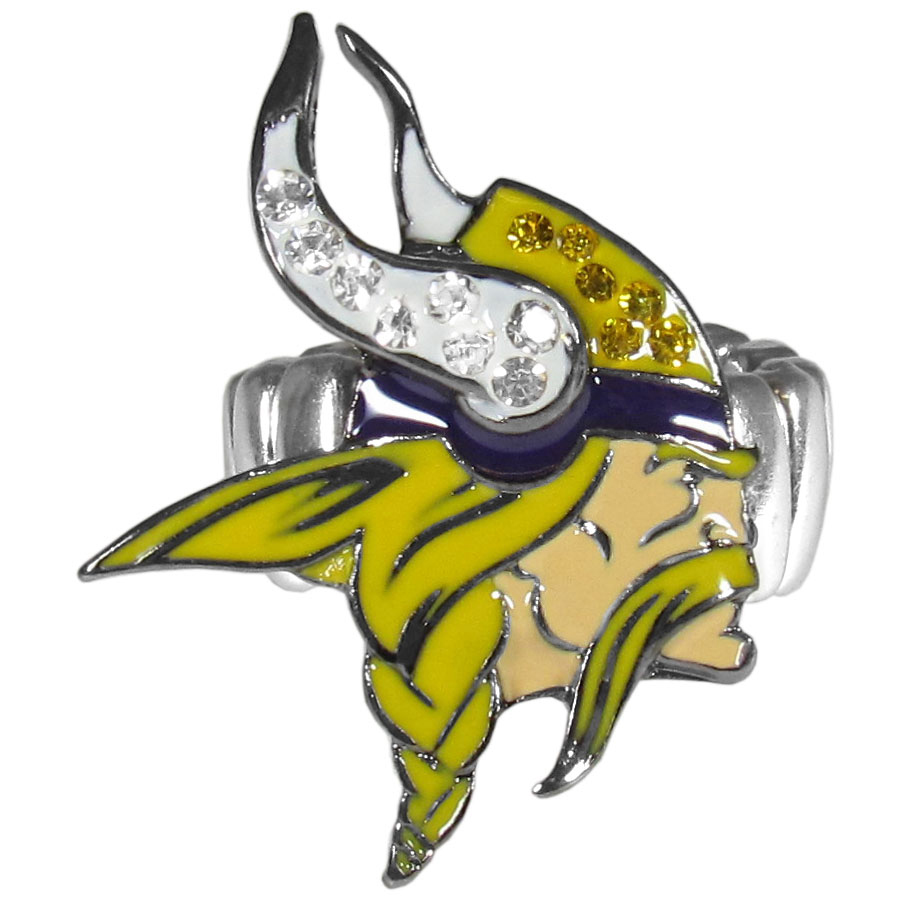 Minnesota Vikings Crystal Ring - This silver plated stretch ring has a big Minnesota Vikings crystal logo.  The ring stretches to fit sizes 6-9 comfortably.