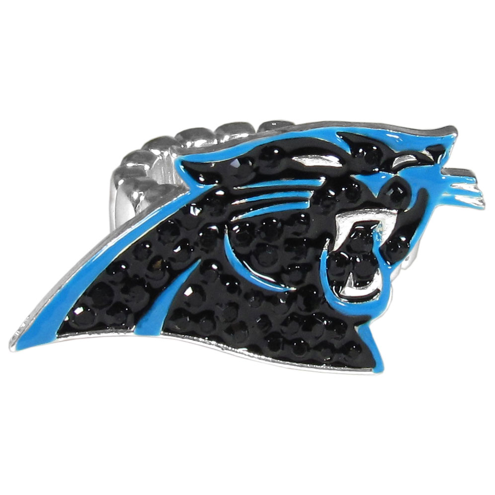 Carolina Panthers Crystal Ring - This silver plated stretch ring has a big Carolina Panthers crystal logo.  The ring stretches to fit sizes 6-9 comfortably.