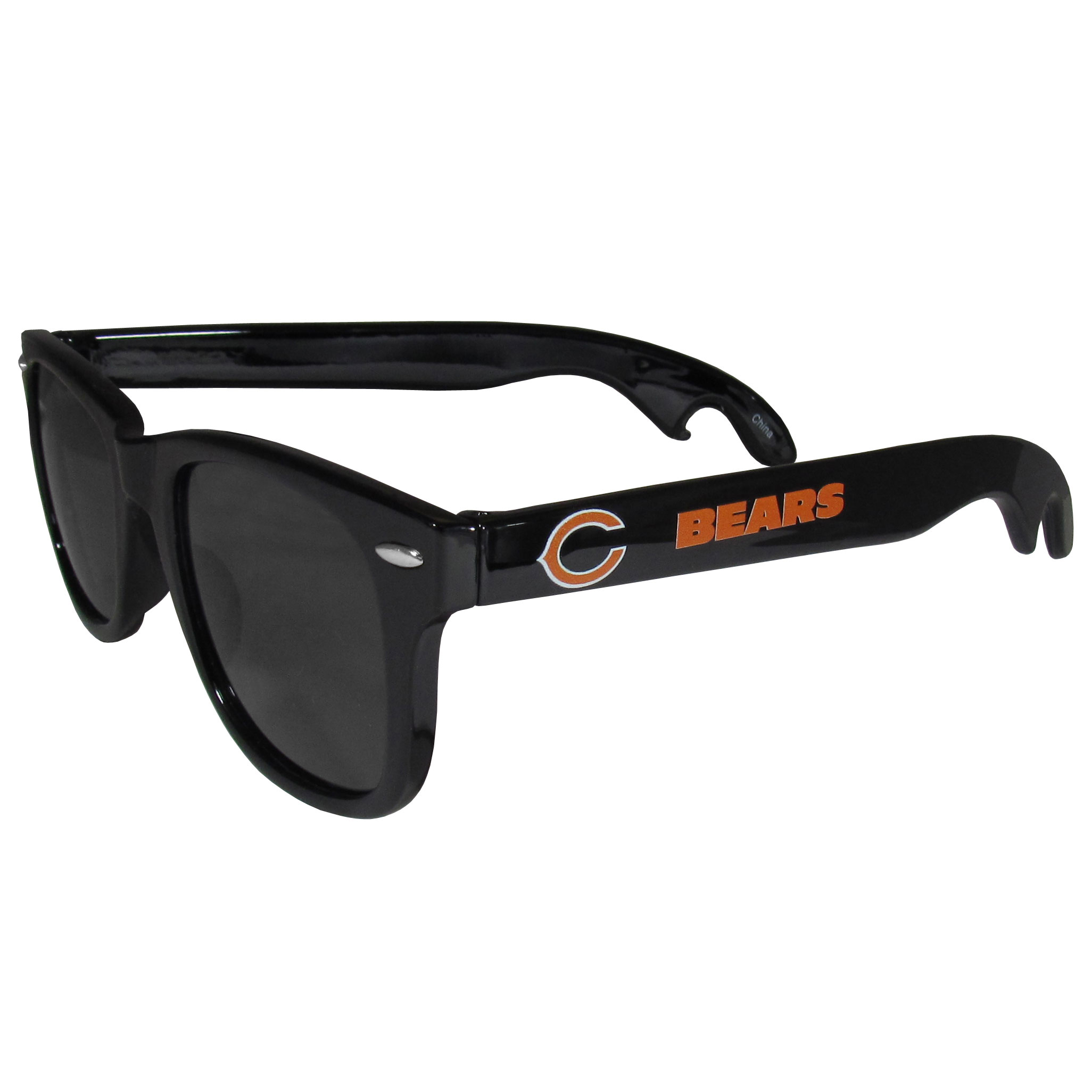 Chicago Bears Beachfarer Bottle Opener Sunglasses - Seriously, these sunglasses open bottles! Keep the party going with these amazing Chicago Bears bottle opener sunglasses. The stylish retro frames feature team designs on the arms and functional bottle openers on the end of the arms. Whether you are at the beach or having a backyard BBQ on game day, these shades will keep your eyes protected with 100% UVA/UVB protection and keep you hydrated with the handy bottle opener arms.