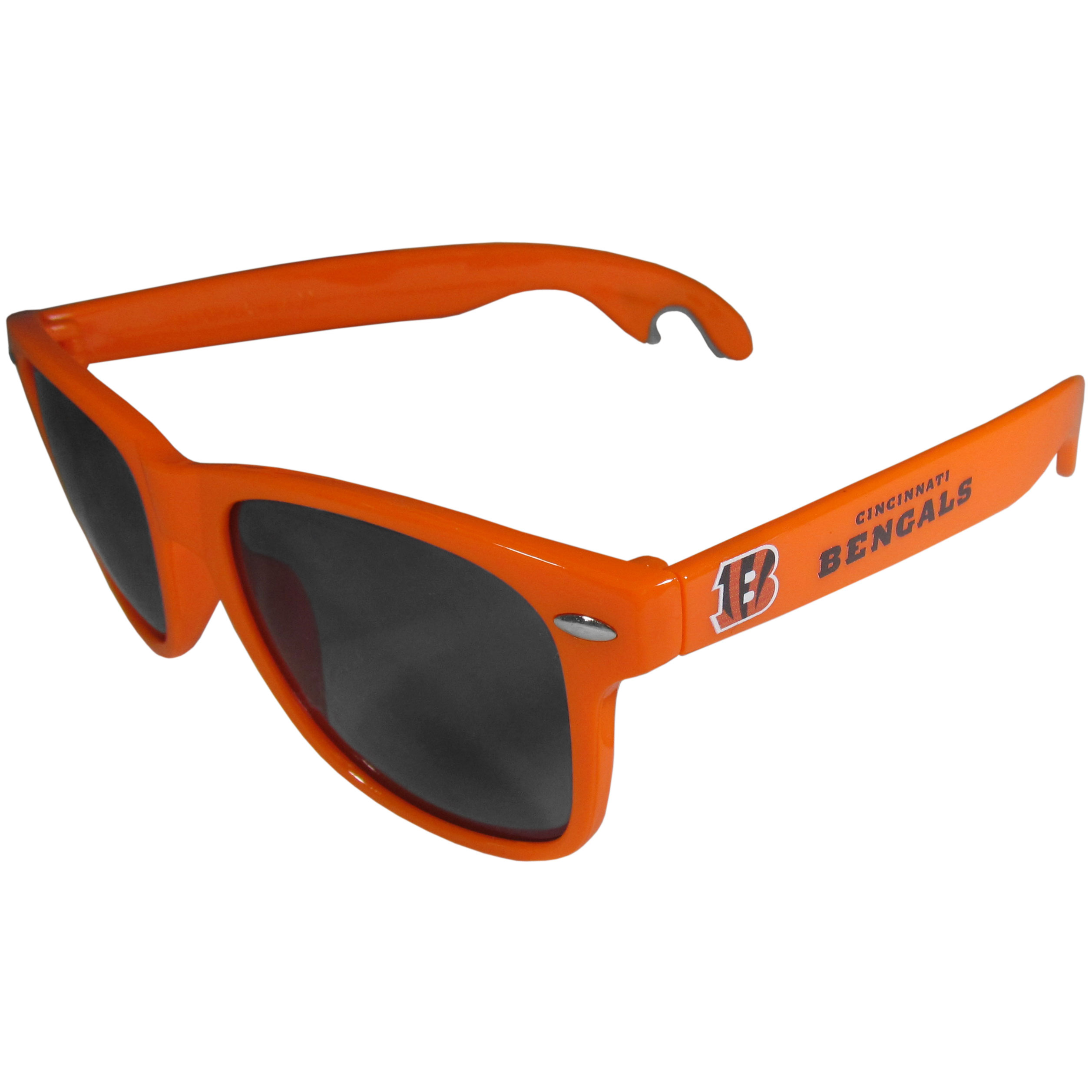 Cincinnati Bengals Beachfarer Bottle Opener Sunglasses, Orange - Seriously, these sunglasses open bottles! Keep the party going with these amazing Cincinnati Bengals bottle opener sunglasses. The stylish retro frames feature team designs on the arms and functional bottle openers on the end of the arms. Whether you are at the beach or having a backyard BBQ on game day, these shades will keep your eyes protected with 100% UVA/UVB protection and keep you hydrated with the handy bottle opener arms.