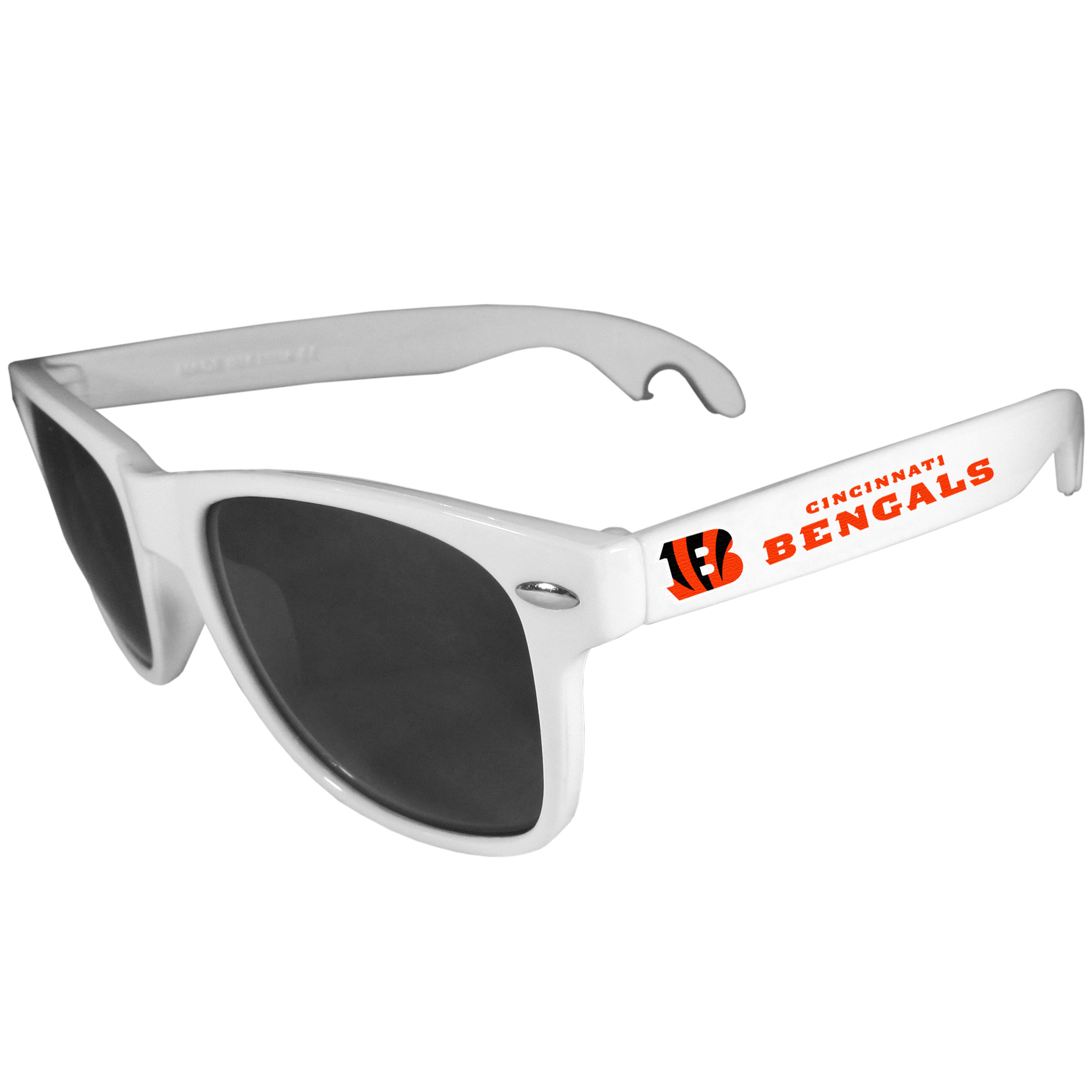 Cincinnati Bengals Beachfarer Bottle Opener Sunglasses, White - Seriously, these sunglasses open bottles! Keep the party going with these amazing Cincinnati Bengals bottle opener sunglasses. The stylish retro frames feature team designs on the arms and functional bottle openers on the end of the arms. Whether you are at the beach or having a backyard BBQ on game day, these shades will keep your eyes protected with 100% UVA/UVB protection and keep you hydrated with the handy bottle opener arms.