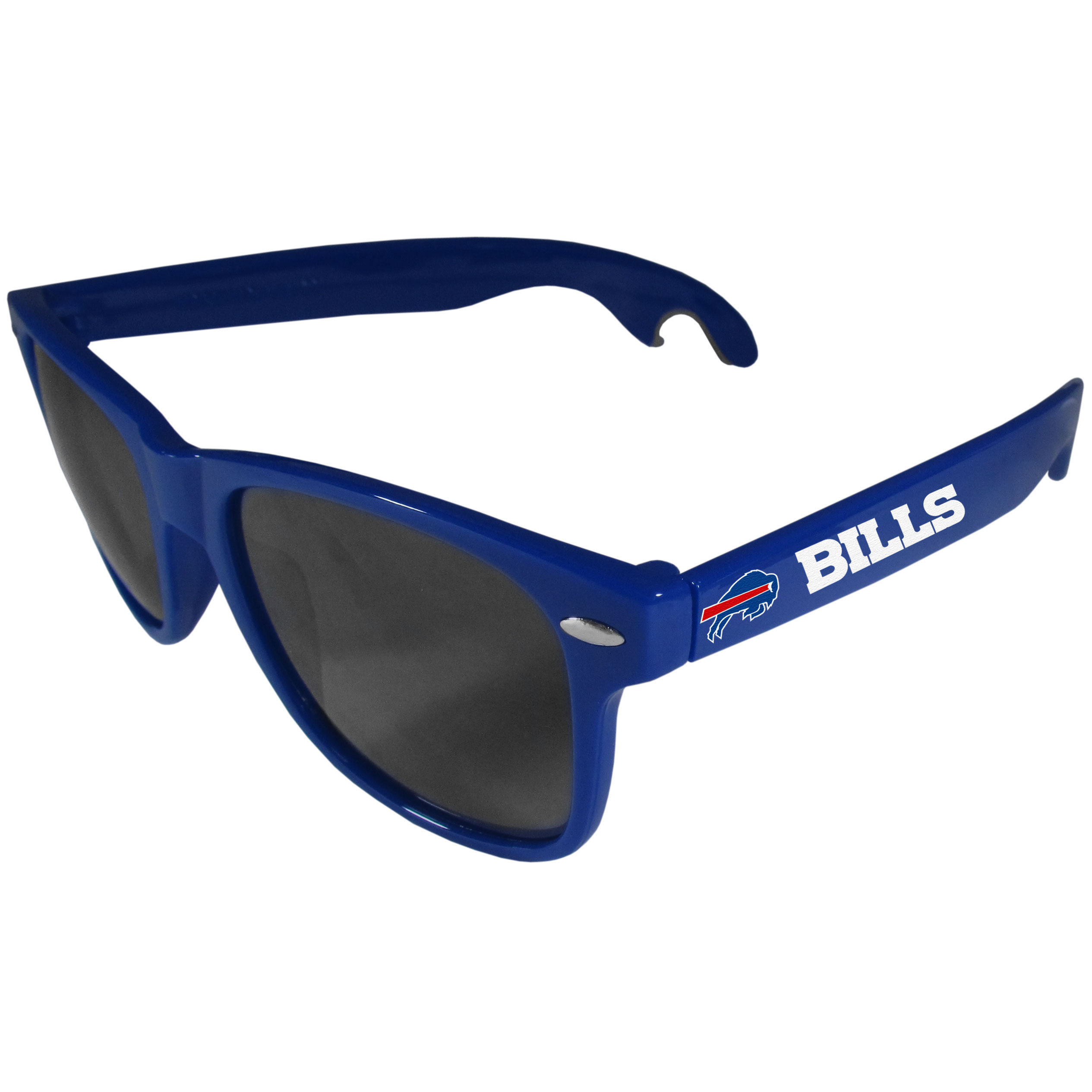 Buffalo Bills Beachfarer Bottle Opener Sunglasses, Blue - Seriously, these sunglasses open bottles! Keep the party going with these amazing Buffalo Bills bottle opener sunglasses. The stylish retro frames feature team designs on the arms and functional bottle openers on the end of the arms. Whether you are at the beach or having a backyard BBQ on game day, these shades will keep your eyes protected with 100% UVA/UVB protection and keep you hydrated with the handy bottle opener arms.