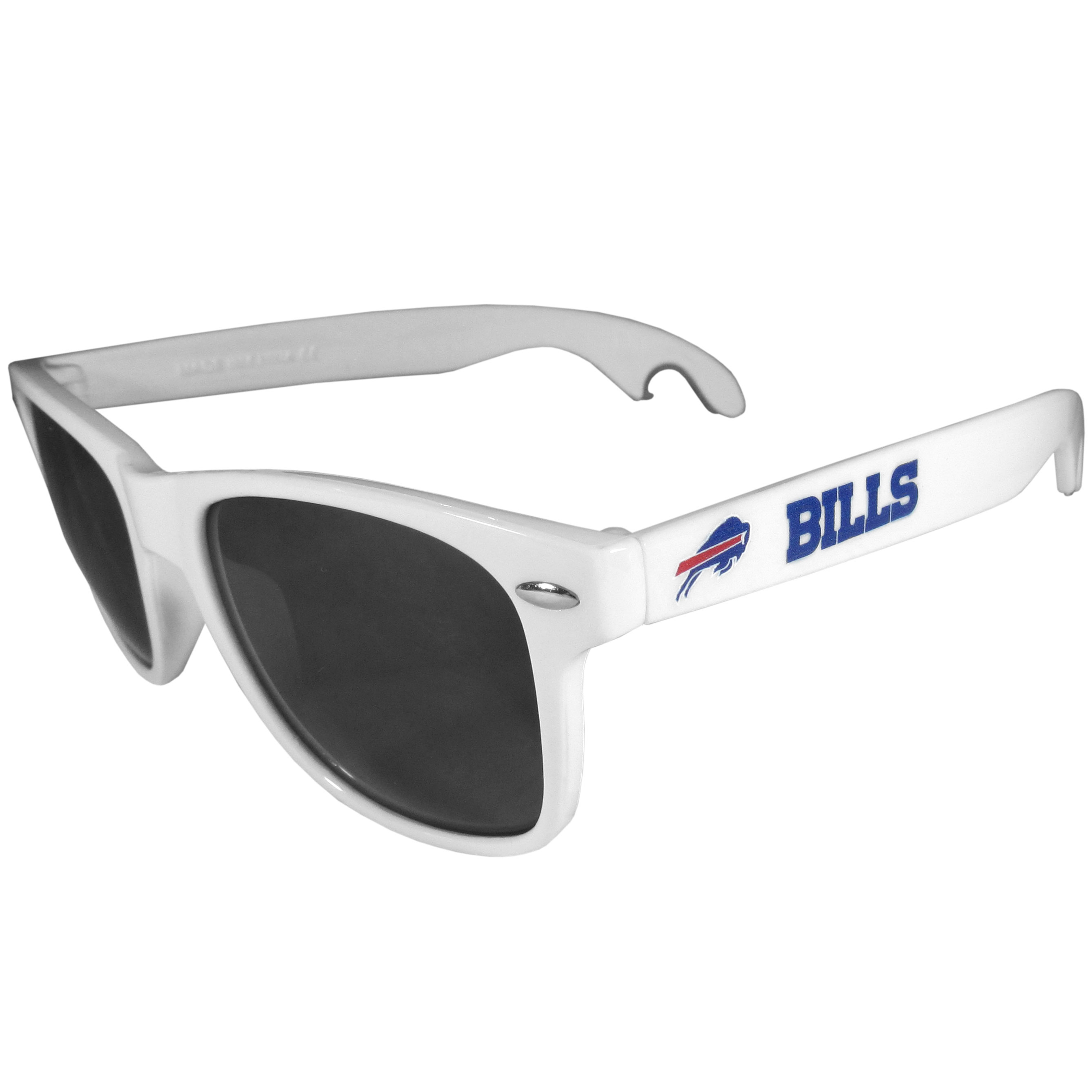 Buffalo Bills Beachfarer Bottle Opener Sunglasses, White - Seriously, these sunglasses open bottles! Keep the party going with these amazing Buffalo Bills bottle opener sunglasses. The stylish retro frames feature team designs on the arms and functional bottle openers on the end of the arms. Whether you are at the beach or having a backyard BBQ on game day, these shades will keep your eyes protected with 100% UVA/UVB protection and keep you hydrated with the handy bottle opener arms.
