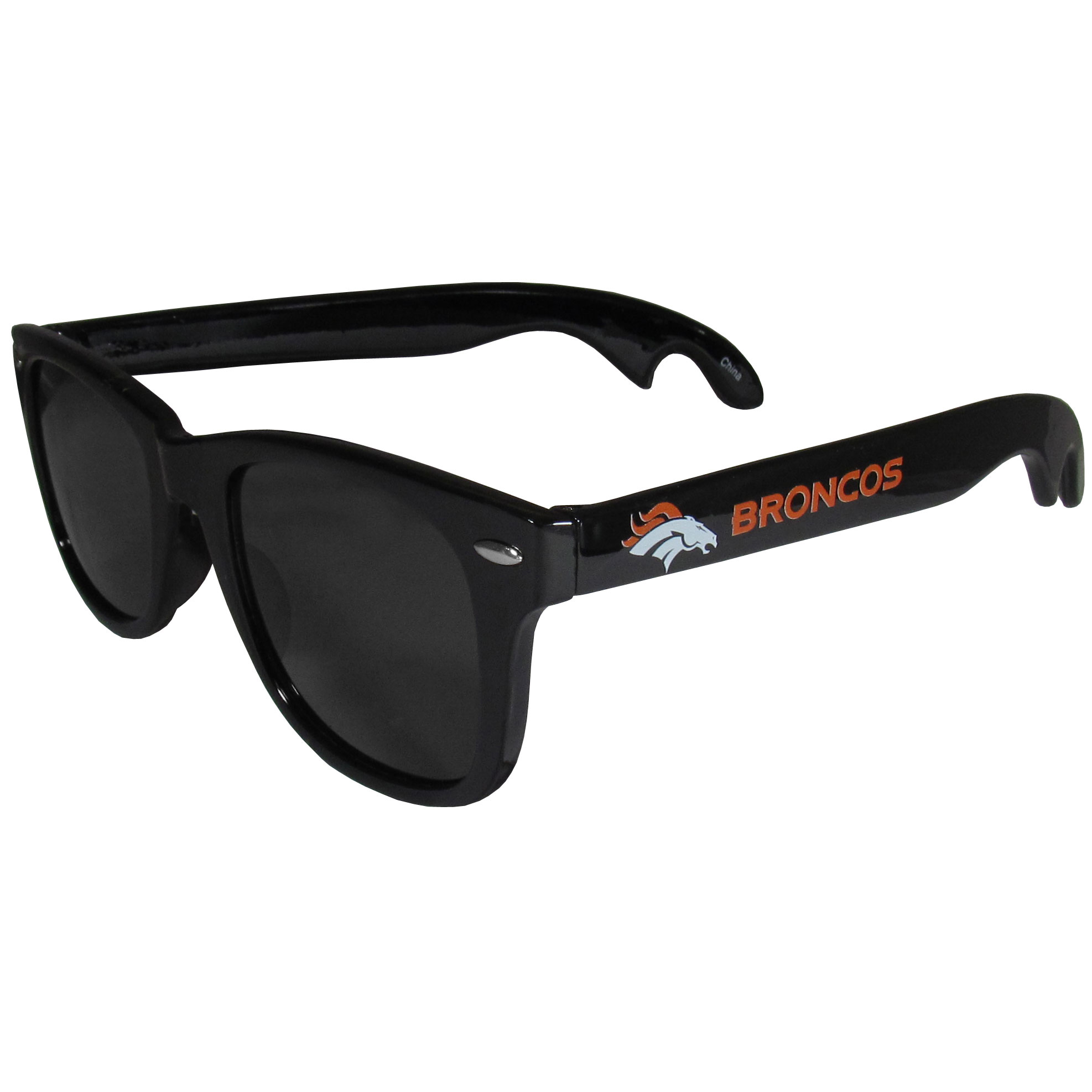 Denver Broncos Beachfarer Bottle Opener Sunglasses - Seriously, these sunglasses open bottles! Keep the party going with these amazing Denver Broncos bottle opener sunglasses. The stylish retro frames feature team designs on the arms and functional bottle openers on the end of the arms. Whether you are at the beach or having a backyard BBQ on game day, these shades will keep your eyes protected with 100% UVA/UVB protection and keep you hydrated with the handy bottle opener arms.