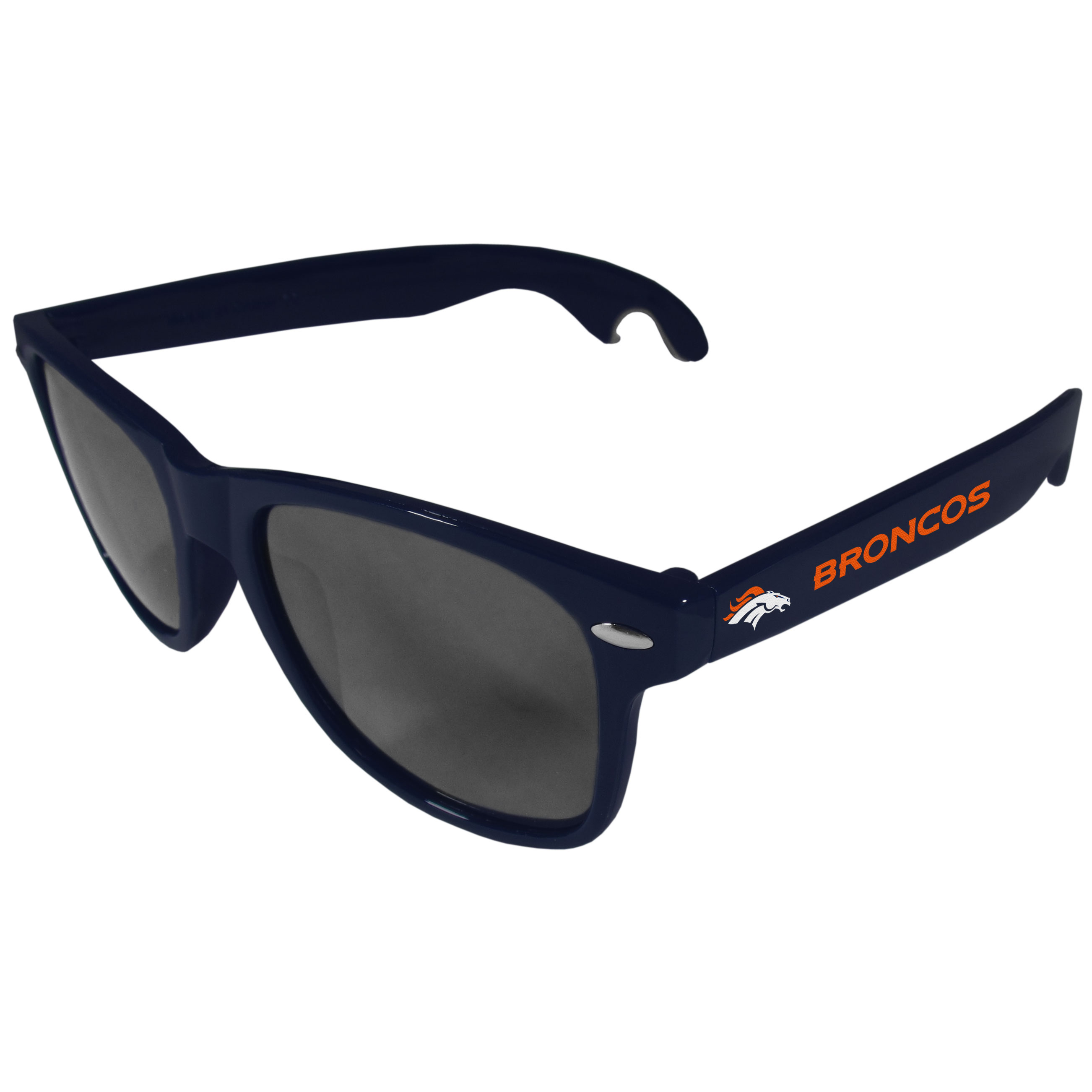 Denver Broncos Beachfarer Bottle Opener Sunglasses, Dark Blue - Seriously, these sunglasses open bottles! Keep the party going with these amazing Denver Broncos bottle opener sunglasses. The stylish retro frames feature team designs on the arms and functional bottle openers on the end of the arms. Whether you are at the beach or having a backyard BBQ on game day, these shades will keep your eyes protected with 100% UVA/UVB protection and keep you hydrated with the handy bottle opener arms.