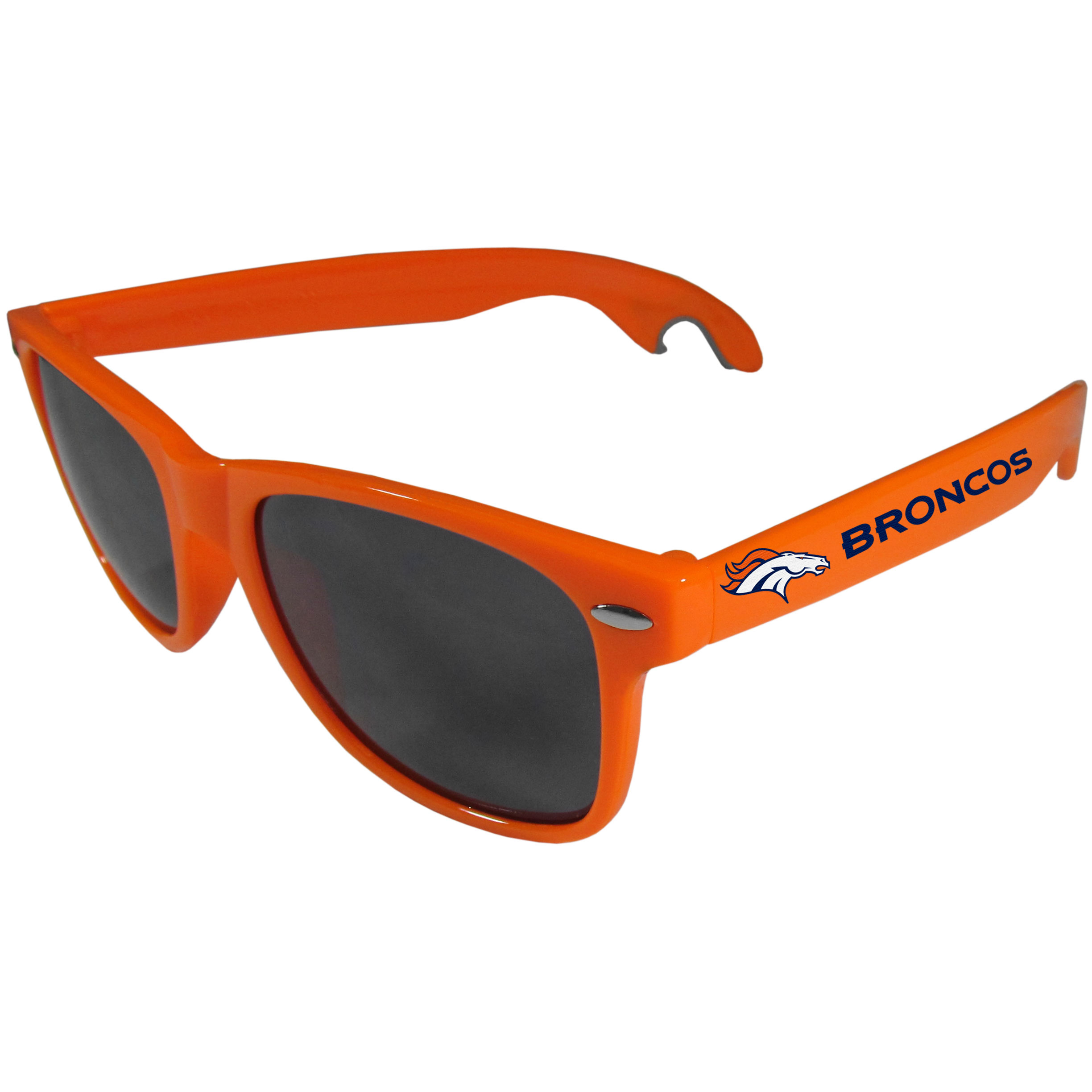 Denver Broncos Beachfarer Bottle Opener Sunglasses, Orange - Seriously, these sunglasses open bottles! Keep the party going with these amazing Denver Broncos bottle opener sunglasses. The stylish retro frames feature team designs on the arms and functional bottle openers on the end of the arms. Whether you are at the beach or having a backyard BBQ on game day, these shades will keep your eyes protected with 100% UVA/UVB protection and keep you hydrated with the handy bottle opener arms.
