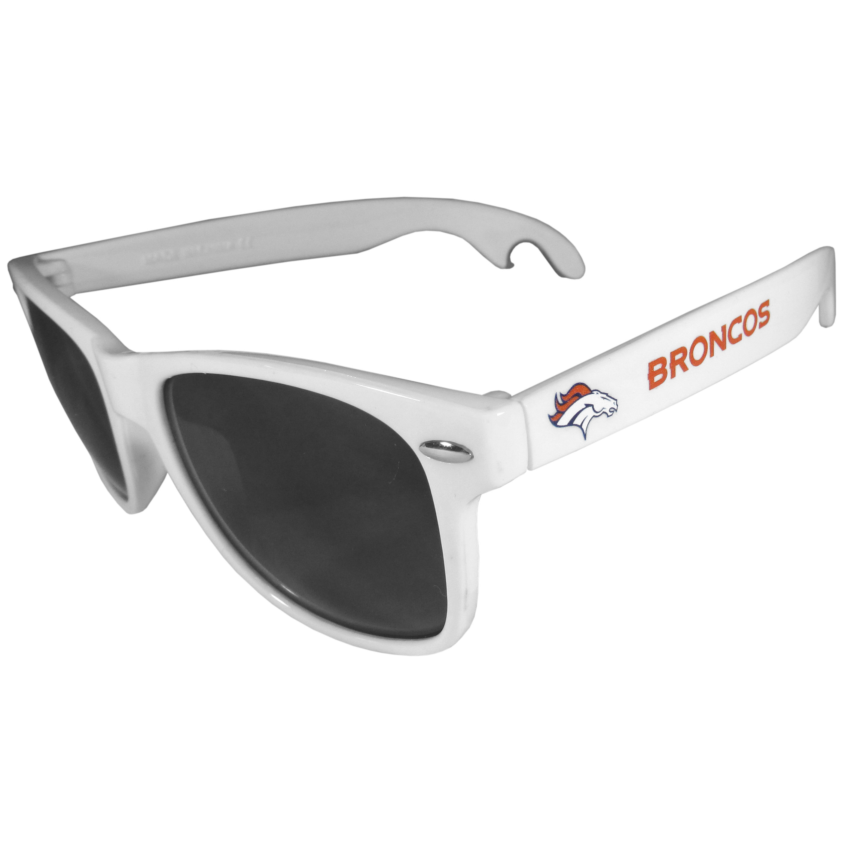 Denver Broncos Beachfarer Bottle Opener Sunglasses, White - Seriously, these sunglasses open bottles! Keep the party going with these amazing Denver Broncos bottle opener sunglasses. The stylish retro frames feature team designs on the arms and functional bottle openers on the end of the arms. Whether you are at the beach or having a backyard BBQ on game day, these shades will keep your eyes protected with 100% UVA/UVB protection and keep you hydrated with the handy bottle opener arms.