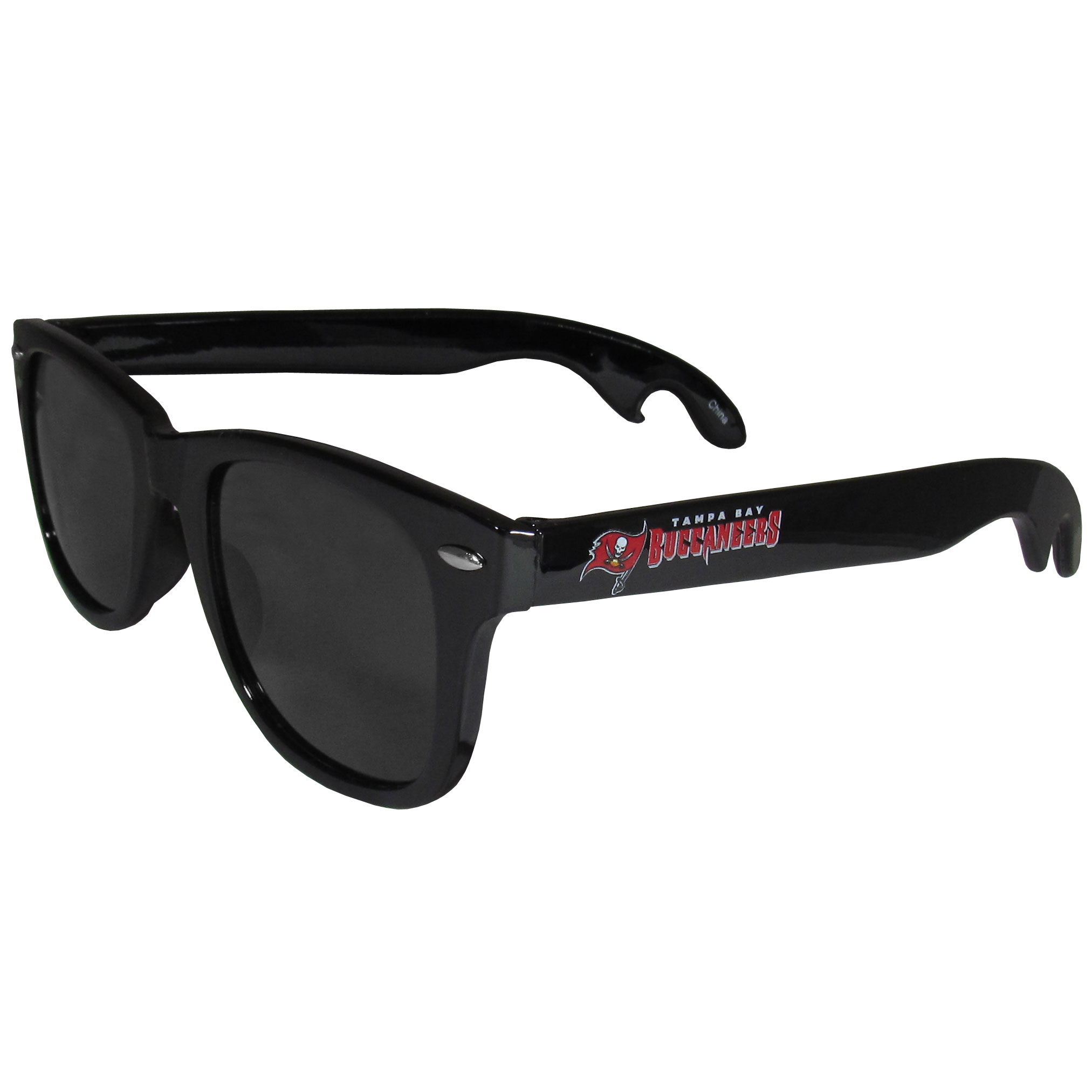 Tampa Bay Buccaneers Beachfarer Bottle Opener Sunglasses - Seriously, these sunglasses open bottles! Keep the party going with these amazing Tampa Bay Buccaneers bottle opener sunglasses. The stylish retro frames feature team designs on the arms and functional bottle openers on the end of the arms. Whether you are at the beach or having a backyard BBQ on game day, these shades will keep your eyes protected with 100% UVA/UVB protection and keep you hydrated with the handy bottle opener arms.