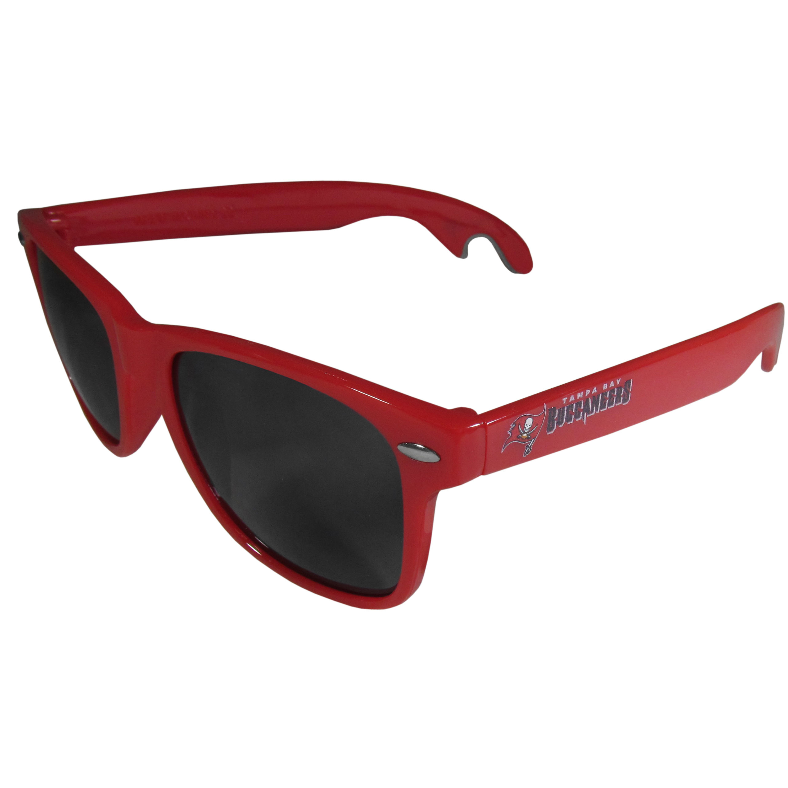 Tampa Bay Buccaneers Beachfarer Bottle Opener Sunglasses, Red - Seriously, these sunglasses open bottles! Keep the party going with these amazing Tampa Bay Buccaneers bottle opener sunglasses. The stylish retro frames feature team designs on the arms and functional bottle openers on the end of the arms. Whether you are at the beach or having a backyard BBQ on game day, these shades will keep your eyes protected with 100% UVA/UVB protection and keep you hydrated with the handy bottle opener arms.