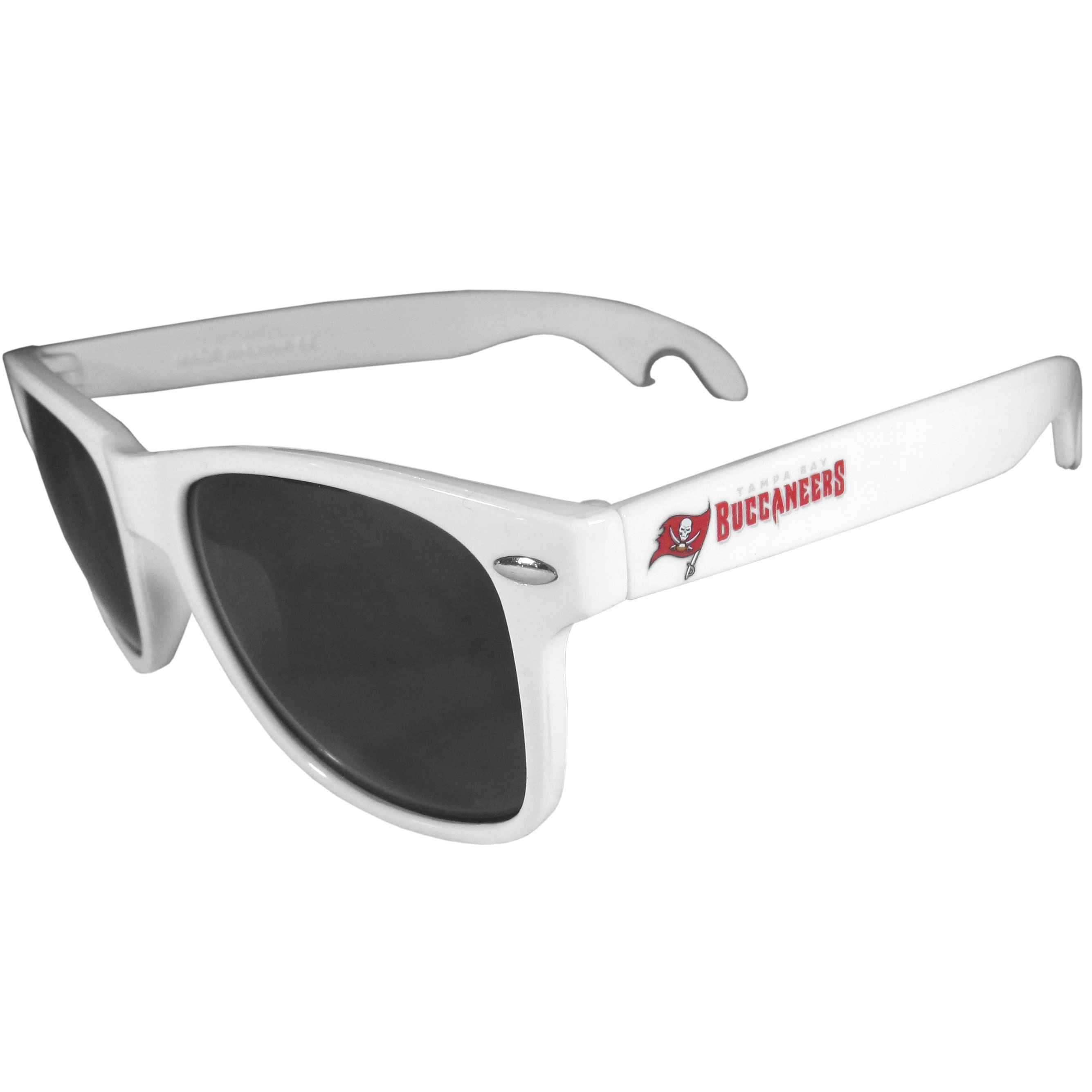 Tampa Bay Buccaneers Beachfarer Bottle Opener Sunglasses, White - Seriously, these sunglasses open bottles! Keep the party going with these amazing Tampa Bay Buccaneers bottle opener sunglasses. The stylish retro frames feature team designs on the arms and functional bottle openers on the end of the arms. Whether you are at the beach or having a backyard BBQ on game day, these shades will keep your eyes protected with 100% UVA/UVB protection and keep you hydrated with the handy bottle opener arms.