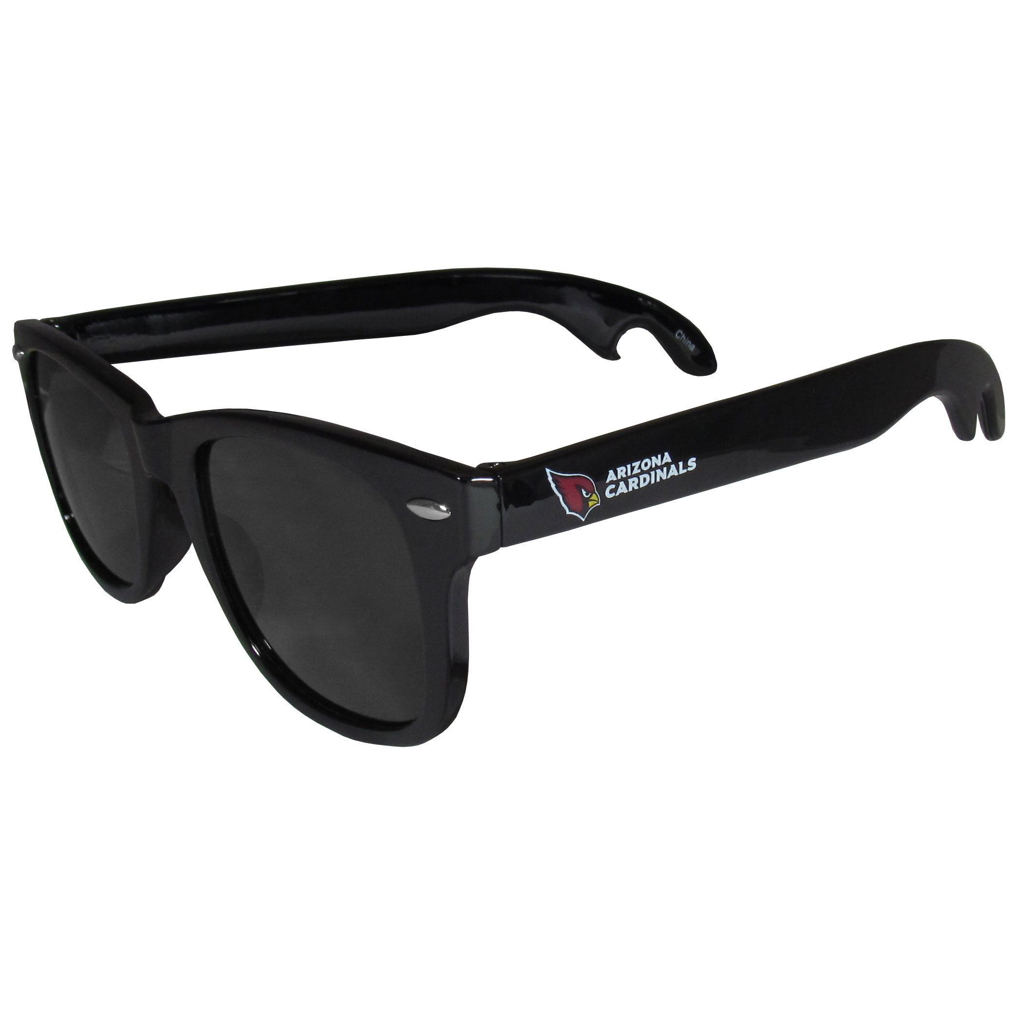 Arizona Cardinals Beachfarer Bottle Opener Sunglasses - Seriously, these sunglasses open bottles! Keep the party going with these amazing Arizona Cardinals bottle opener sunglasses. The stylish retro frames feature team designs on the arms and functional bottle openers on the end of the arms. Whether you are at the beach or having a backyard BBQ on game day, these shades will keep your eyes protected with 100% UVA/UVB protection and keep you hydrated with the handy bottle opener arms.