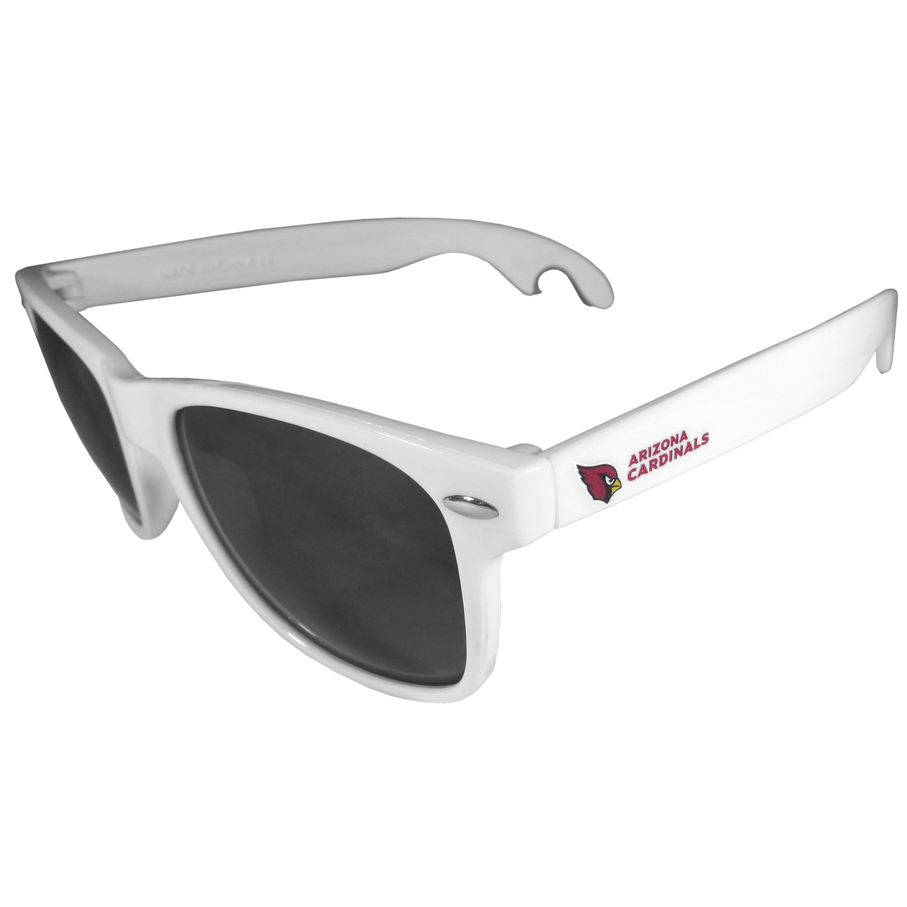 Arizona Cardinals Beachfarer Bottle Opener Sunglasses, White - Seriously, these sunglasses open bottles! Keep the party going with these amazing Arizona Cardinals bottle opener sunglasses. The stylish retro frames feature team designs on the arms and functional bottle openers on the end of the arms. Whether you are at the beach or having a backyard BBQ on game day, these shades will keep your eyes protected with 100% UVA/UVB protection and keep you hydrated with the handy bottle opener arms.