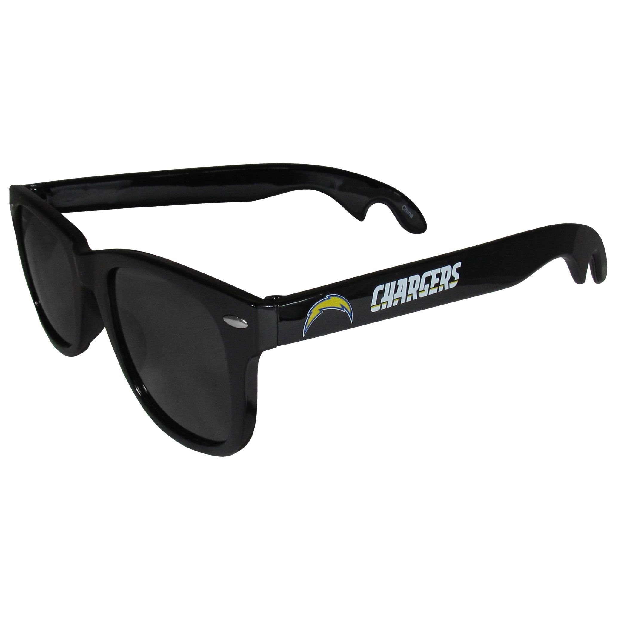Los Angeles Chargers Beachfarer Bottle Opener Sunglasses - Seriously, these sunglasses open bottles! Keep the party going with these amazing Los Angeles Chargers bottle opener sunglasses. The stylish retro frames feature team designs on the arms and functional bottle openers on the end of the arms. Whether you are at the beach or having a backyard BBQ on game day, these shades will keep your eyes protected with 100% UVA/UVB protection and keep you hydrated with the handy bottle opener arms.