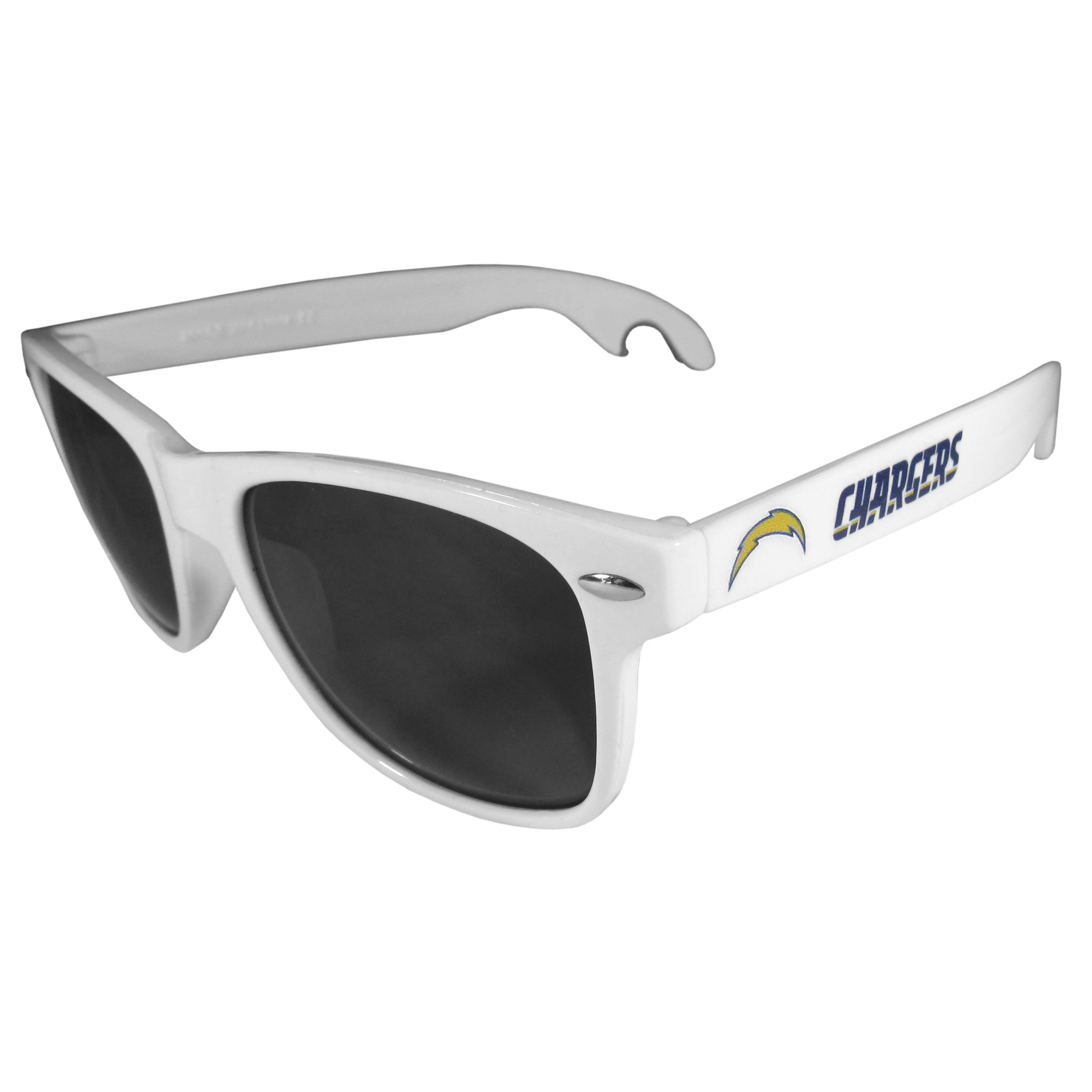 Los Angeles Chargers Beachfarer Bottle Opener Sunglasses, White - Seriously, these sunglasses open bottles! Keep the party going with these amazing Los Angeles Chargers bottle opener sunglasses. The stylish retro frames feature team designs on the arms and functional bottle openers on the end of the arms. Whether you are at the beach or having a backyard BBQ on game day, these shades will keep your eyes protected with 100% UVA/UVB protection and keep you hydrated with the handy bottle opener arms.