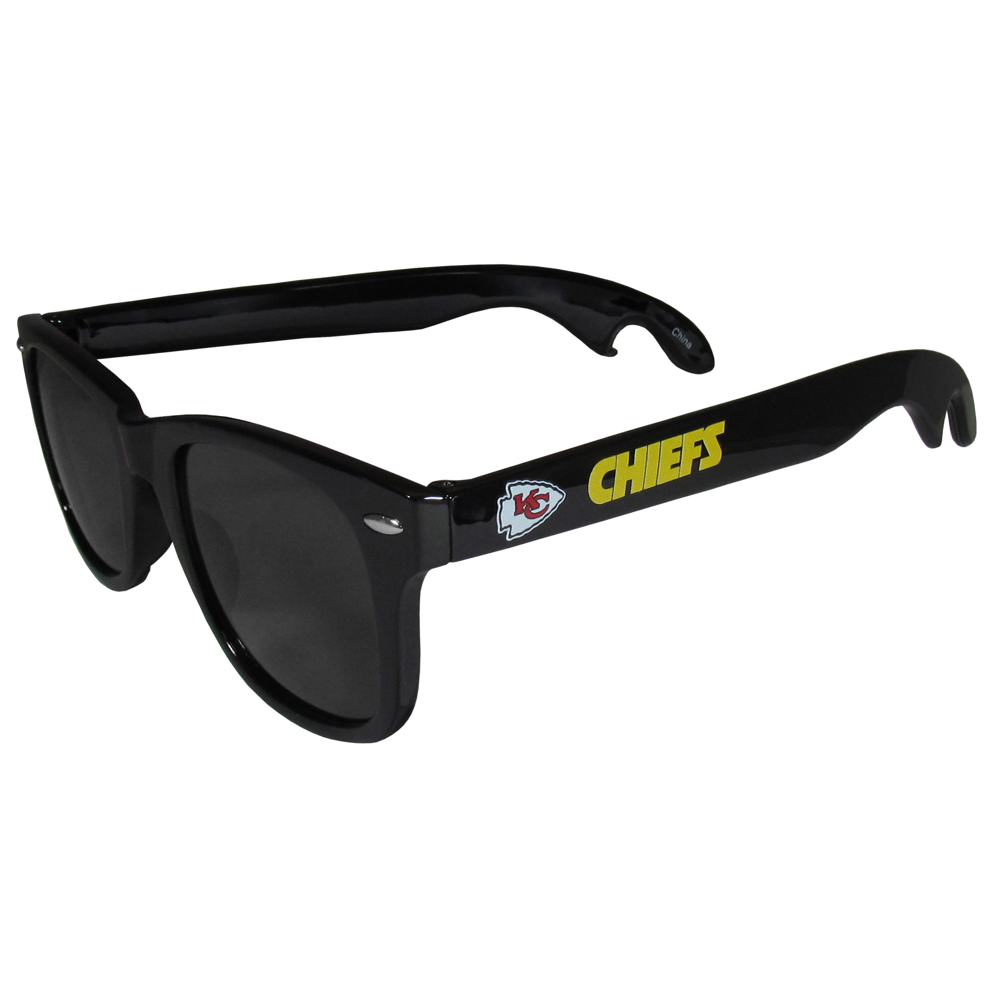 Kansas City Chiefs Beachfarer Bottle Opener Sunglasses - Seriously, these sunglasses open bottles! Keep the party going with these amazing Kansas City Chiefs bottle opener sunglasses. The stylish retro frames feature team designs on the arms and functional bottle openers on the end of the arms. Whether you are at the beach or having a backyard BBQ on game day, these shades will keep your eyes protected with 100% UVA/UVB protection and keep you hydrated with the handy bottle opener arms.